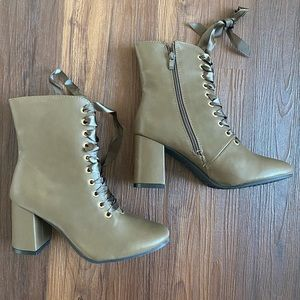Olive brown taupe heeled lace up ankle booties